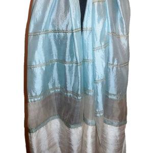 Vintage 1960s Shawl Striped Scarf Wrap (A2)
